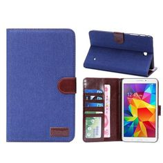 Retro Luxury Jeans Denim Fabric PU Leather Wallet holder Flip Protective Case Cover for Samsung Galaxy Tab 4 7.0 T230 #Affiliate