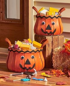 Halloween Candy Holder Sets Of 2 Fall Baskets Halloween Candy Container #LTD