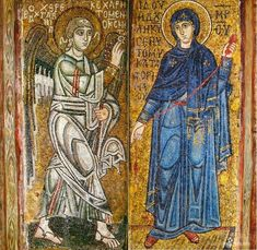 The Annunciation. Archangel Gabriel and Virgin Mary Religious Icons, Religious Art, St Sophie, Archangel Gabriel, I Believe In Angels, Religious Paintings, Russian Painting, Byzantine Art, Byzantine Mosaics