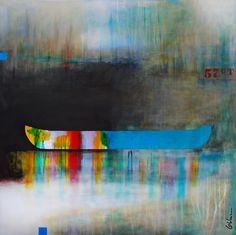 L'équilibre des désirs, mixed media canoe painting by Sylvain Leblanc   Effusion Art Gallery + Cast Glass Studio, Invermere BC River Painting, Boat Painting, Contemporary Decor, Modern Decor, Art Gallery, Canadian Artists, House Colors, Landscape Paintings, Kayaking