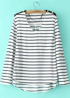 White Black Striped V Neck Long Sleeve Loose Blouse 15.83