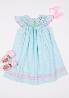 "#Frozen themed smocked ""In Summer"" bishop dress. Girls will LOVE this dress!"