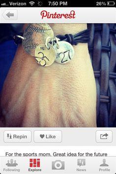 Baseball mom leather strap bracelet
