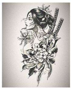 Geisha Tattoos, Geisha Tattoo Design, Japan Tattoo Design, Tattoo Design Drawings, Anime Tattoos, Tattoo Sleeve Designs, Tattoo Sketches, Body Art Tattoos, Geisha Tattoo Sleeve