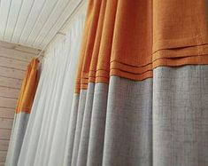 white and navy color block pure Linen Custom made Curtains Panel ,inverted pleats window curtain flax window treatments, many colors Orange Curtains, Colorful Curtains, White Curtains, Luxury Curtains, Linen Curtains, Linen Fabric, Window Coverings, Window Treatments, Color Block Curtains