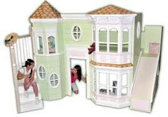 Dolls house little girls dream princess bed bedroom slide