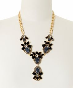 Look what I found on #zulily! Black & Gray Teardrop Floral Bib Necklace by Lux Accessories #zulilyfinds