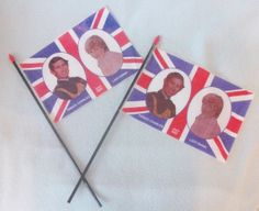 Pair of Souvenir Flags for Prince Charles and Diana Wedding in 1981, Unusual Rare Items