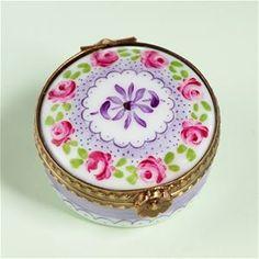 Limoges Mini Roses Purple Lace Round Box.