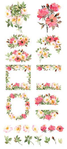 132 best watercolor flower clip art images on pinterest watercolor