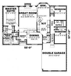 European Style House Plan - 3 Beds 2 Baths 1795 Sq/Ft Plan #34-108 Main Floor Plan - Houseplans.com
