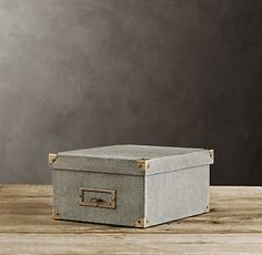 Organizing Product: Regal linen media & photo storage boxes by Restoration Hardware. #organizing #photos #dvds #clutter