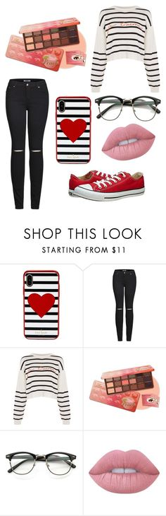 """Red vibes"" by tori0628 on Polyvore featuring Kate Spade, 2LUV, Topshop, Lime Crime, Converse, cute, casual, red, stripes and french"