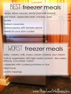 The best and worst foods to freeze.  Plus tons of tips to help BEGINNERS learn how to make healthy freezer meals! #freezer #recipes