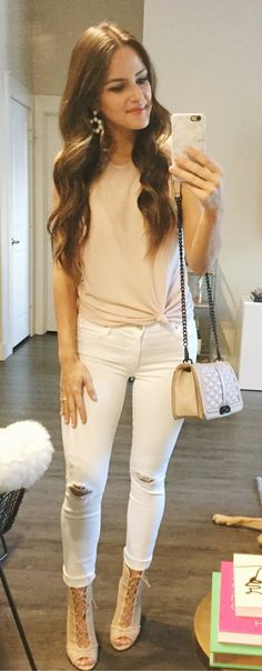 #summer #outfits  Beige Tie Tee + White Ripped Skinny Jeans + Beige Open Toe Booties 👠🙌🏼