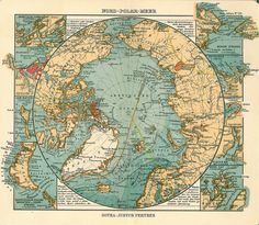 Drawing - Antique Maps - Old Cartographic Maps - Antique Map Of North Pole And Arctic Ocean In German by Studio Grafiikka , Old World Maps, Old Maps, Antique Maps, Vintage World Maps, Ancient Maps, North Pole Map, Arte Steampunk, Site Art, Etiquette Vintage