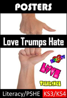 This Love Trumps Hate pack can be used for PSHE/Literacy Lessons, starting points for discussion or writing, Valentine's Day or part of a PSHE lesson. Covers Equality, Diversity and Rights, Islamophobia, Homophobia and more. Includes over 15 ...