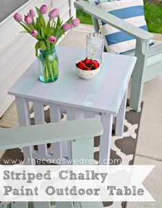 Striped Chalky Paint Outdoor Table painted with Americana DECOR Chalky Finish paint available at Jo-Ann!