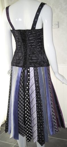 black and purple dress made from upcycled ties and black beaded and lace corset ONE OF A KIND. £50.00, via Etsy.