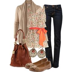 A fashion look from November 2012 featuring H&M cardigans, J Brand jeans and FOSSIL flats. Browse and shop related looks.