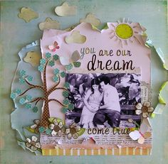 Dream come true layout Baby Book Pages, Pregnancy Scrapbook, Scrapbook Cards, Scrapbook Layouts, Scrapbooking Ideas, Torn Paper, Handmade Journals, Baby Love, Card Making