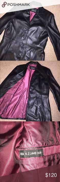 Beautiful Leather jacket Outshell: genuine leather, Lining: 50% nylon and 50% acetate. Beautiful Adler lamb skin black leather jacket with collar, lapel, four buttons, pockets and soft red lining in excellent condition! adler collection Jackets & Coats