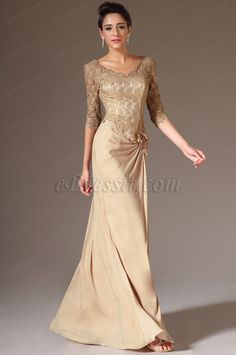 eDressit Brown V-Neck Lace Top Half Sleeves Mother of the Bride Dress Mother Of The Bride Dresses Long, Mothers Dresses, Long Mothers Dress, Evening Dresses For Weddings, Formal Evening Dresses, Gold Gown Dress, Lace Dress With Sleeves, Half Sleeves, Groom Wedding Dress