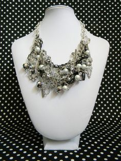 Statement Necklace- One of A Kind Haute Couture- Safety Pin and Chain Heavy Metal Necklace
