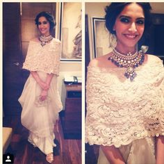 Sonam Kapoor Wearing Anamika Khanna Haute Couture, necklace by Sunita Kapoor signature line and clutch. Mode Bollywood, Bollywood Fashion, Bollywood Saree, Indian Dresses, Indian Outfits, Lace Dress, Dress Up, Look Short, Diana Penty