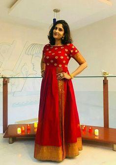 21 Kurti from old saree designs Silk Kurti Designs, Kurta Designs Women, Kurti Designs Party Wear, Lehenga Designs, Dress Designs, Blouse Designs, Saree Gown, Sari Dress, Anarkali Dress