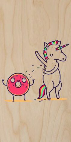 'How Donuts Get Sprinkles' Funny Unicorn Shaving Armpits Onto Doughnut - Plywood Wood Print Poster Wall Art