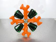 """Kenneth Jay Lane Brooch, KJL Coral Collection Heraldic Maltese Cross, Faux Coral Green Resin Crystal, Couture Statement Jewelry 3.50"""" by TonettesTreasures on Etsy https://www.etsy.com/listing/262305117/kenneth-jay-lane-brooch-kjl-coral"""