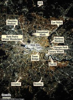 The photograph was taken by Jessica Meir from the window of the International Space Station and shows the Thames weaving a dark path through a web of bright white and yellow lights. Hampstead Heath, London Landmarks, Nasa Astronauts, International Space Station, Wembley Stadium, Croydon, Farm Hero Saga, London Eye, Tower Bridge