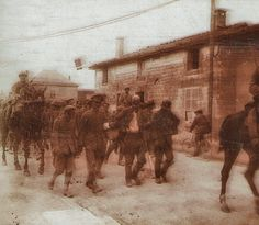 """scrapironflotilla: """" Stereoscopic photo of German prisoners being marched through a French town, guarded by French cavalry. """""""