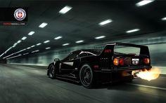 Black Ferrari F40 shooting a huge flame! [1021x638]