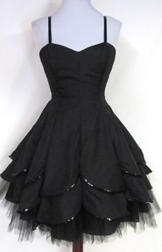 Black Homecoming Dress,Tulle Homecoming Dresses,Spaghetti Straps Homecoming Gowns,Party