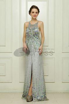 Tencel chiffon hand-beaded blue-gray evening dress