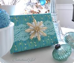 Anytime you combine colorful lace with modern patterned paper (this aqua one from Papyrus) you add panache but also a nostalgic touch to your gift.
