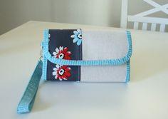blue wallet clutch front