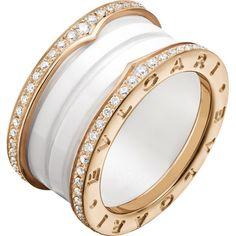 bvlgari bzero1 fourband 18kt pinkgold white ceramic and diamond