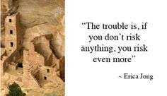 """""""The trouble is, if you don't risk anything, you risk even more."""" ~ Erica Jong (Posted on CR Solutions Quote Page)"""