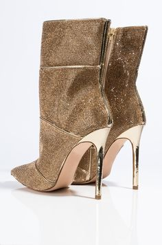 Full View Azalea Wang Never Settle For Less Stiletto Heel Bootie in Gold Stilettos, Black Stiletto Heels, High Heels, Pumps, Crazy Shoes, Me Too Shoes, Gold Outfit, Low Boots, Fashion Heels