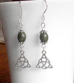Connemara Marble Drop Earrings with Celtic Knot Charm, Irish Gift of Forest Green Marble with Sterling Silver Earwires. Etsy Jewelry, Unique Jewelry, Connemara, White Gift Boxes, Little Bag, Celtic Knot, Beautiful Earrings, Irish, Marble