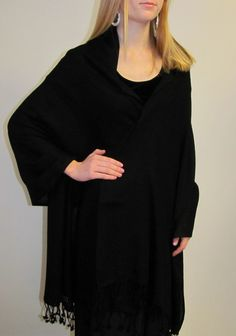 Black cashmere shawl from Nepal sold from YE CT USA only $59.99 a bargain - many colors large size beautiful black woven treasure!