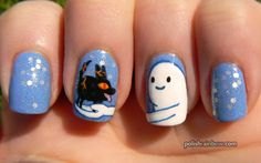 Adventure Time nails! Snow Golem and fire wolf pup <3 <3 <3