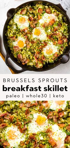This brussels sprouts with bacon breakfast hash is an easy, healthy recipe that you can make in just 20 minutes! Low carb, Paleo, Keto, and too! Bacon Breakfast, Whole 30 Breakfast, Breakfast For Dinner, Healthy Breakfast Recipes, Easy Healthy Recipes, Brunch Recipes, Paleo Recipes, Healthy Breakfasts, Breakfast Ideas