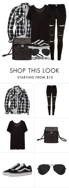 """""""Style #11244"""" by vany-alvarado ❤ liked on Polyvore featuring H&M, River Island, MANGO, Chanel, Vans, Ray-Ban and Southwest Moon"""
