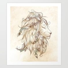 Poetic Lion Art Print by LouJah. Worldwide shipping available at Society6.com. Just one of millions of high quality products available.