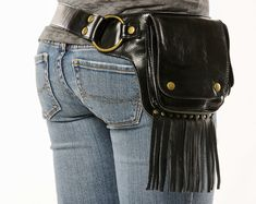 Hip Pack Leather Utility Belt  Bomber Brown Largest pockets