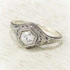 Filigree Antique Vintage Engagement Diamond Ring by spexton, $1675